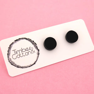 10mm 'Matte Black' Circle Stud Earrings - Timber & Cotton