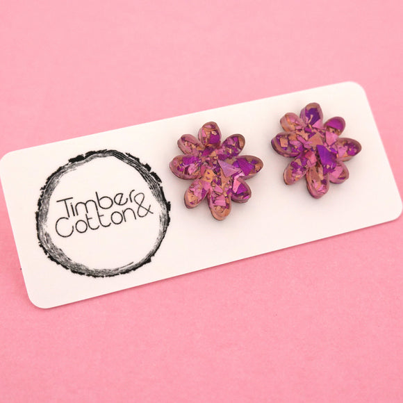 Flower 'Unicorn Flake' Stud Earrings - Timber & Cotton
