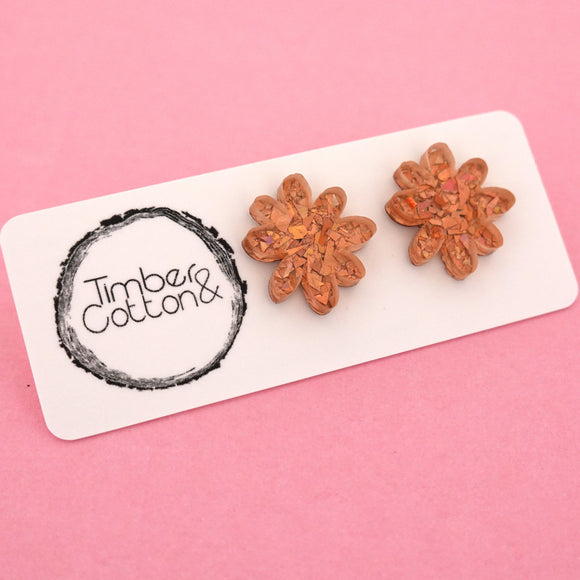 Flower 'Holographic Rose Gold Flake' Stud Earrings - Timber & Cotton