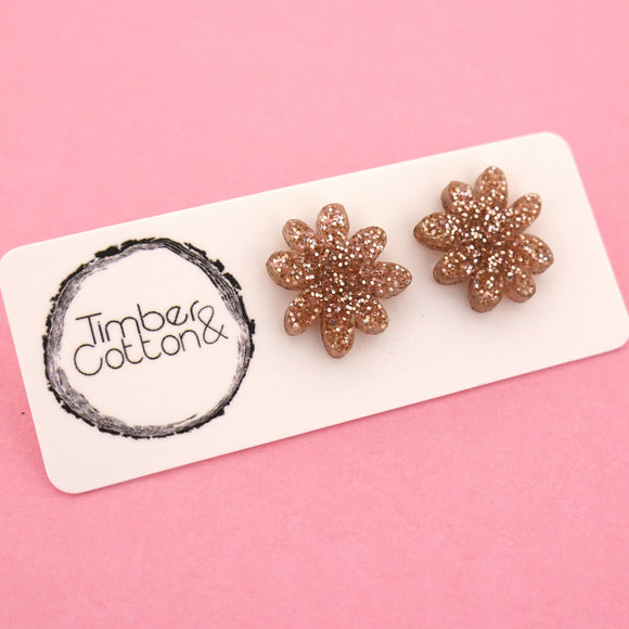 Flower 'Rose Gold Fine Glitter' Stud Earrings - Timber & Cotton