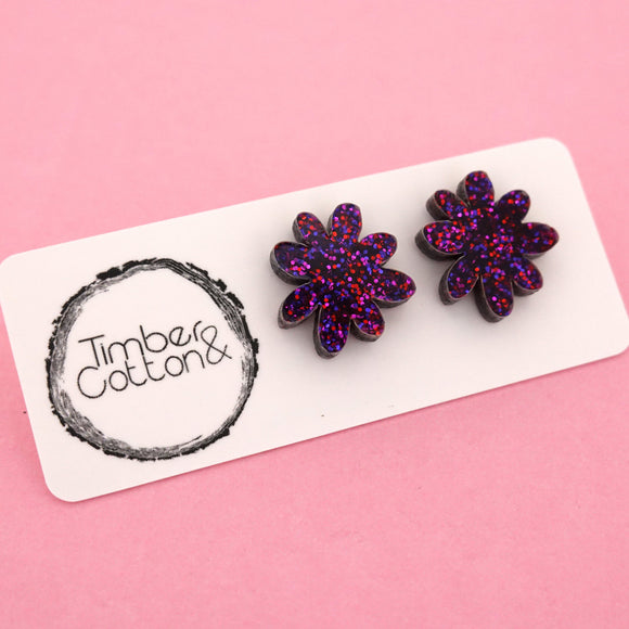 Flower 'Ruby Glitter' Stud Earrings - Timber & Cotton
