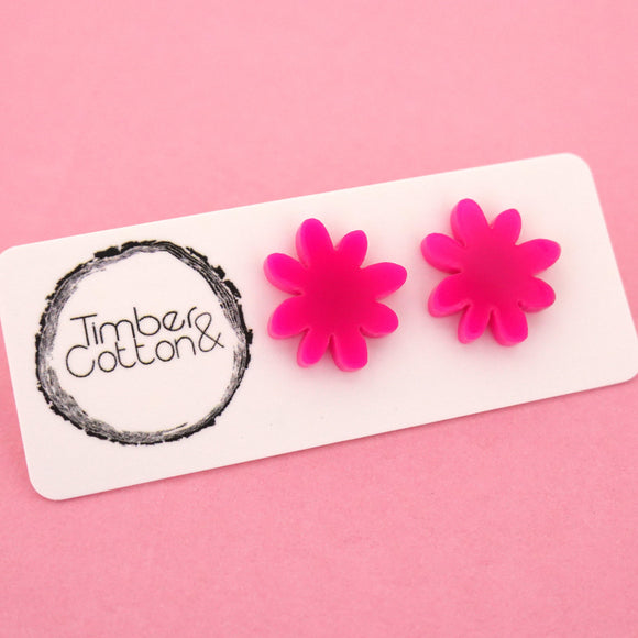 Flower 'Hot Pink' Stud Earrings - Timber & Cotton