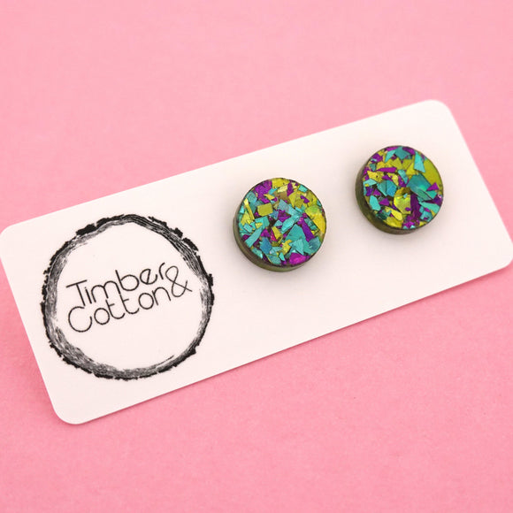 13mm 'Peacock Flake' Circle Stud Earrings - Timber & Cotton