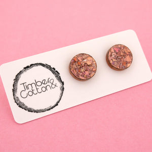 13mm 'Holographic Rose Gold Flake' Circle Stud Earrings - Timber & Cotton