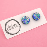 13mm 'Ocean Flake' Circle Stud Earrings - Timber & Cotton