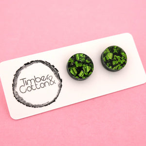 13mm 'Green Flake' Circle Stud Earrings - Timber & Cotton