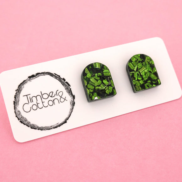 Arch 'Green Flake' Stud Earrings - Timber & Cotton