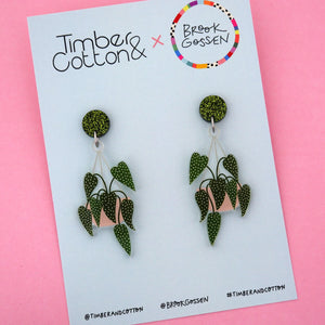 Begonia Maculata Hanging Pot Plant Stud Top Dangle Earring - Timber & Cotton + Brook Gossen