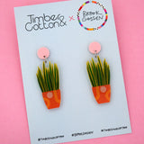 Snake Plant Stud Top Dangle Earring - Timber & Cotton + Brook Gossen