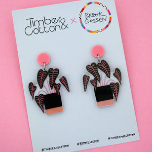 Caladium Pot Plant Stud Top Dangle Earring - Timber & Cotton + Brook Gossen