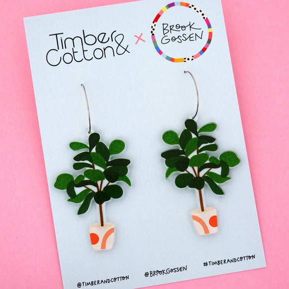 Fiddle Leaf Fig Pot Plant Hoop Dangle Earring - Timber & Cotton + Brook Gossen