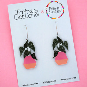 Begonia Maculata Pot Plant Hoop Dangle Earring - Timber & Cotton + Brook Gossen