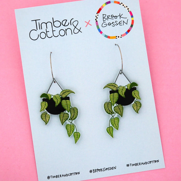 Calathea Hanging Pot Plant Hoop Dangle Earring - Timber & Cotton + Brook Gossen