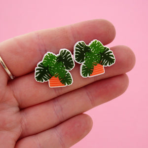 Monstera Pot Plant Statement Stud Earring - Timber & Cotton + Brook Gossen