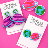 Earth & Saturn Space Science Dangle Earrings- Timber & Cotton