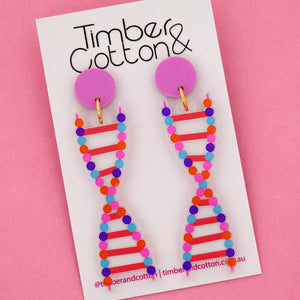 DNA Science Dangle Earrings- Timber & Cotton