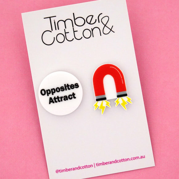 'Opposites Attract' Magnet Science Statement Stud Earrings- Timber & Cotton