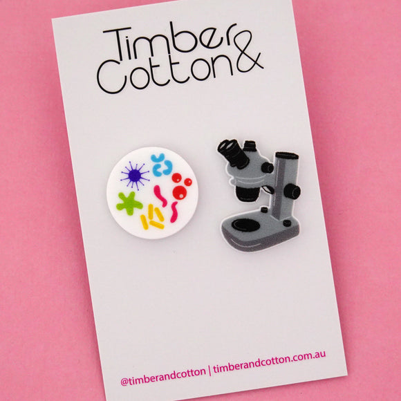 Microbiology Microscope Science Statement Stud Earrings- Timber & Cotton