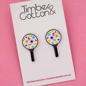 Magnify Glass Science Statement Stud Earrings- Timber & Cotton