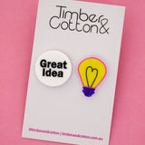 'Great Idea' Light Bulb Science Statement Stud Earrings- Timber & Cotton