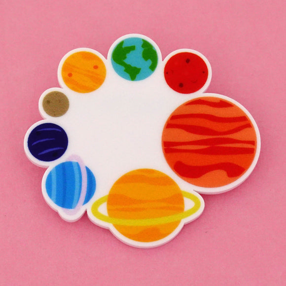 Circle of Planets in Space Science Brooch- Timber & Cotton