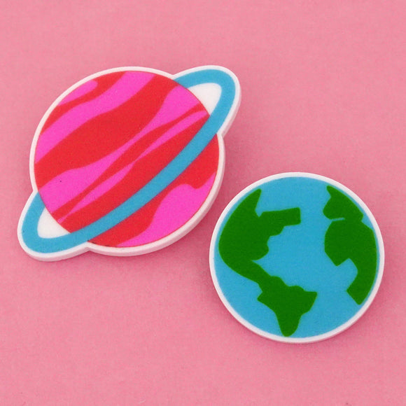 Earth & Saturn Science Brooch- Timber & Cotton