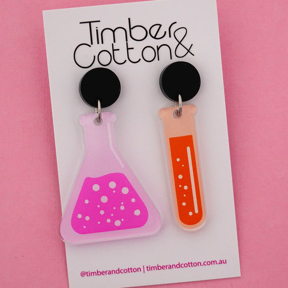 Beaker & Test Tube Science Dangle Earrings- Timber & Cotton