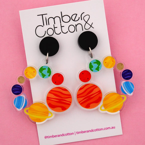 Circle of Planets in Space Science Dangle Earrings- Timber & Cotton