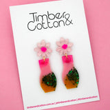 Floral Vase 'Resin Colour 4' Dangle Earring- Timber & Cotton