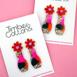 Floral Vase 'Resin Colour 5' Dangle Earring- Timber & Cotton