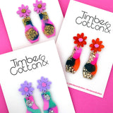 Floral Vase 'Resin Colour 7' Dangle Earring- Timber & Cotton