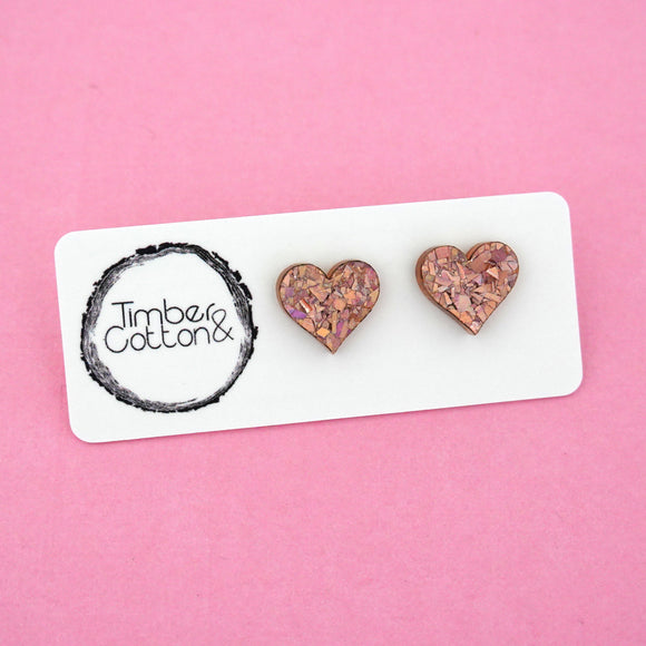Heart 'Holographic Rose Gold Flake' Stud Earrings - Timber & Cotton