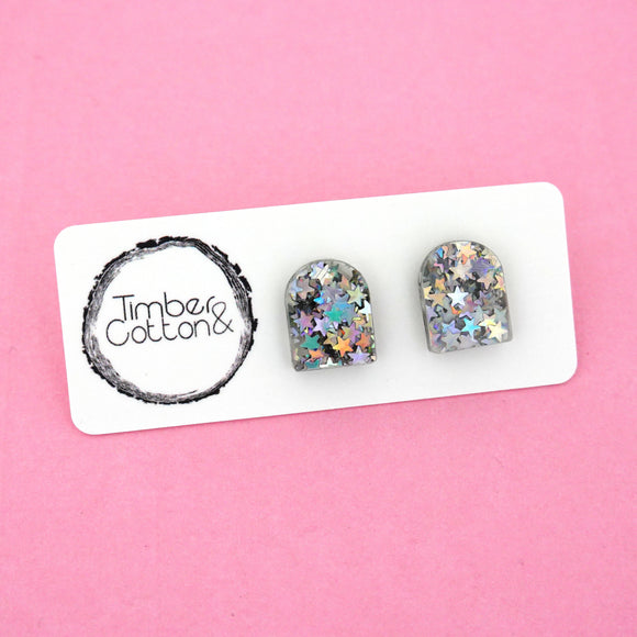 Arch 'Holographic Star Glitter' Stud Earrings - Timber & Cotton