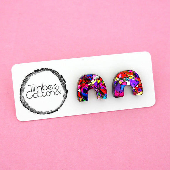 Arch Rainbow 'Rainbow Flake' Stud Earrings - Timber & Cotton