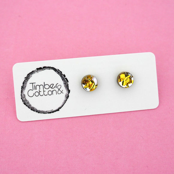 8mm 'Gold & Silver Flake' Circle Stud Earrings - Timber & Cotton