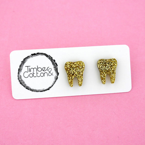 Tooth 'Gold Glitter' Stud Earrings - Timber & Cotton