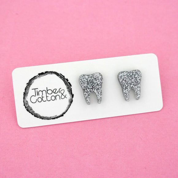Tooth 'Silver Glitter' Stud Earrings - Timber & Cotton