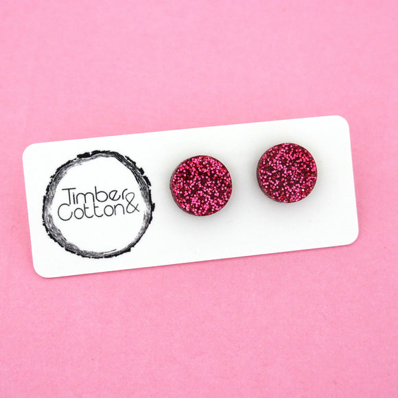 13mm 'Hot Pink Glitter' Circle Stud Earrings - Timber & Cotton