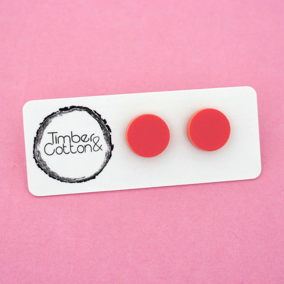 13mm 'Matte Coral' Circle Stud Earrings - Timber & Cotton