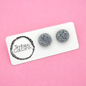 13mm 'Holographic Silver Glitter' Circle Stud Earrings - Timber & Cotton