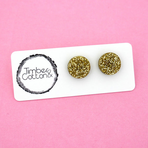 13mm 'Gold Glitter' Circle Stud Earrings - Timber & Cotton