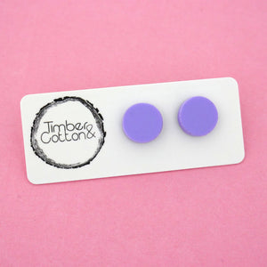 13mm 'Matte Lilac' Circle Stud Earrings - Timber & Cotton