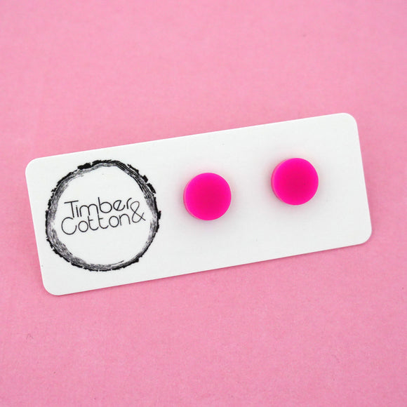 10mm 'Hot Pink' Circle Stud Earrings - Timber & Cotton