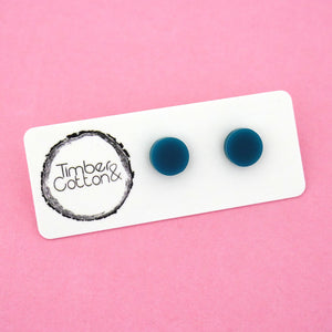 10mm 'Teal' Circle Stud Earrings - Timber & Cotton