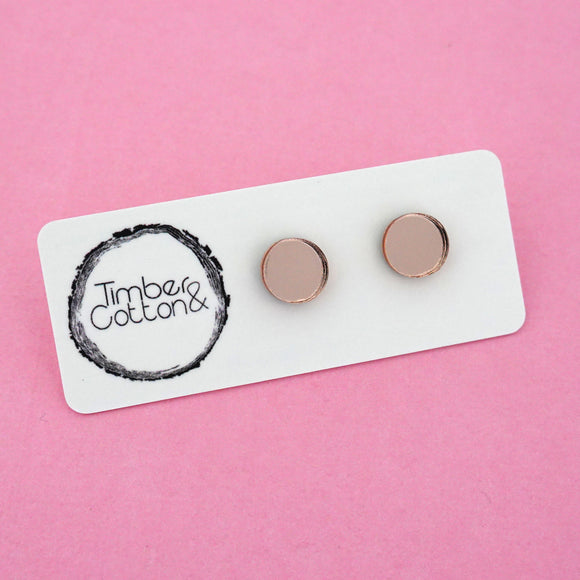10mm 'Rose Gold Mirror' Circle Stud Earrings - Timber & Cotton