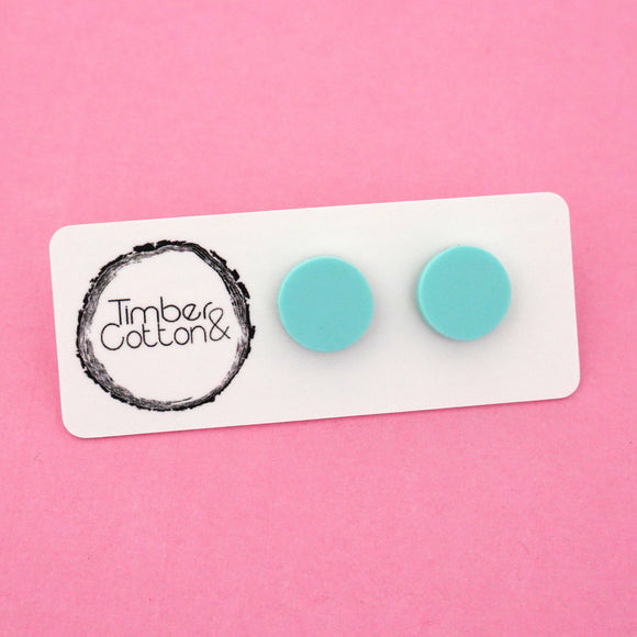 13mm 'Matte Mint' Circle Stud Earrings - Timber & Cotton