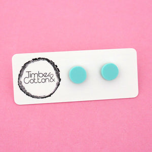 10mm 'Matte Mint' Circle Stud Earrings - Timber & Cotton