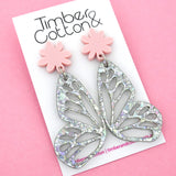 Holographic Silver Flake Butterfly Dangle Earring- Timber & Cotton