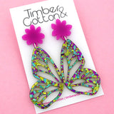 Peacock Flake Butterfly Dangle Earring- Timber & Cotton
