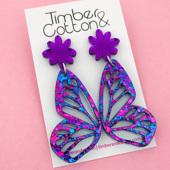 Purple Party Flake Butterfly Dangle Earring- Timber & Cotton
